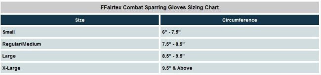 Fairtex MMA training gloves sizes
