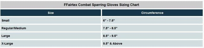 Fairtex combat gloves sizes