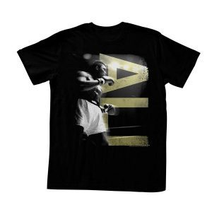 Muhammad Ali in A Boxing Stance with Ali in Gold Letters Black Adult T-Shirt